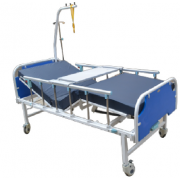 ICU Hospital Bed with back rest / collapsible side railings with castor wheels,drip stand monkey pull with mattress head and leg boards MF-033H