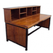 Desk With Sorting Boxes Hardwood Top /Metal Frame