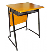 School Desk with metal shelf and front panel hardwood - top / metal frame